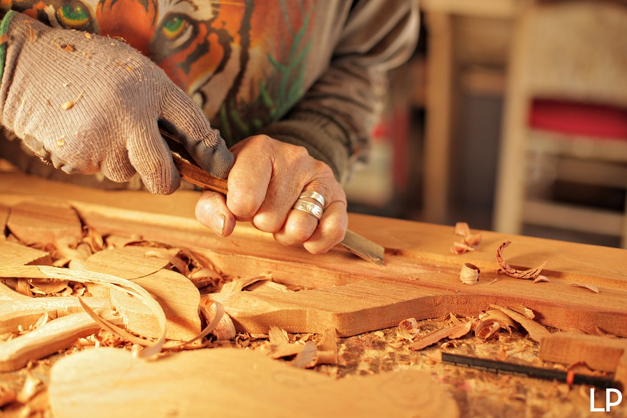 chiseling wood
