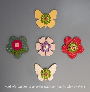 wooden flower magnet