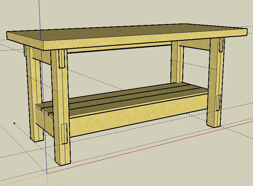 A sketch of a detailed work bench plan.
