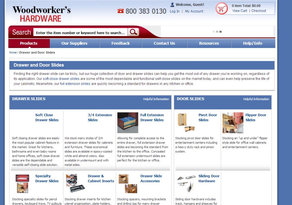 Woodworkers Hardware Website