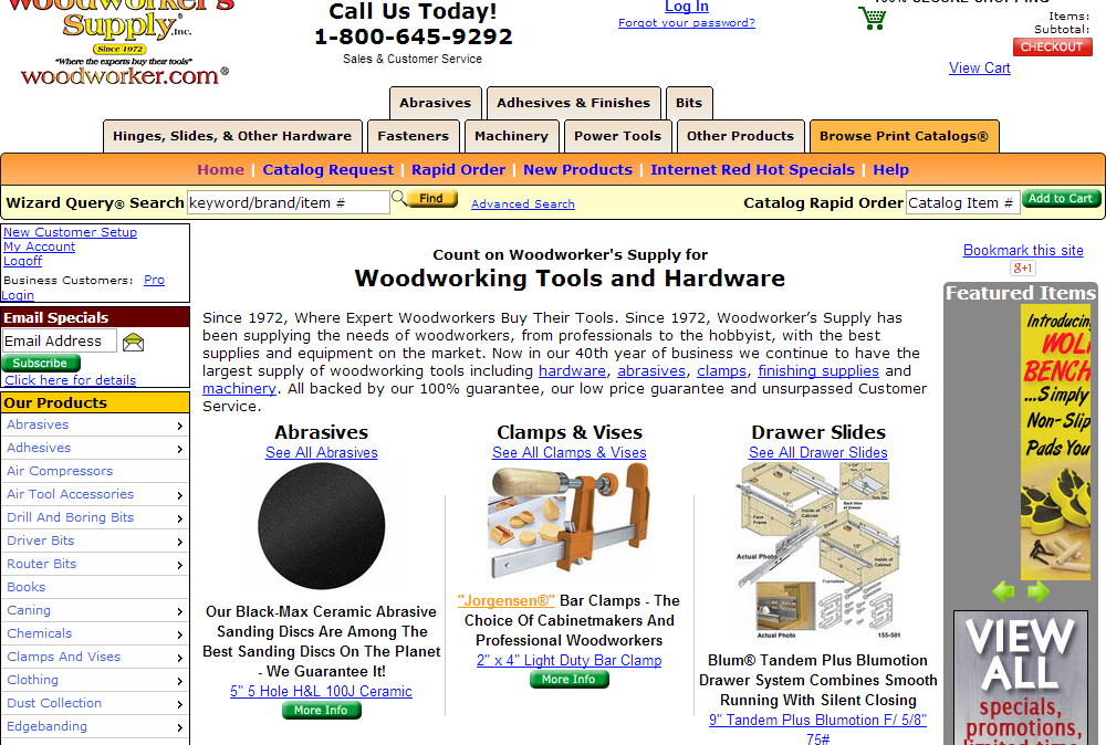 Woodworkers Supply Homepage